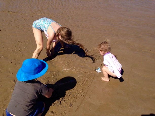 Making land & water forms at the beach